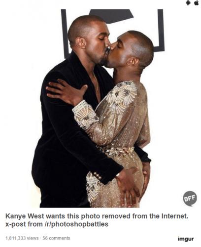 Kanye West embrassant... Kanye West, la main sur ses FESSES !