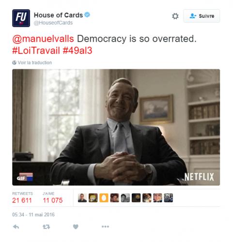 Le tweet de HOUSE OF CARDS à MANUEL VALLS et la réponse du MINISTRE…